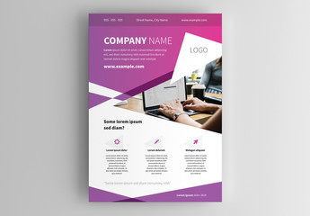 Flyer Layout with Purple Gradient Background