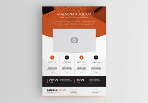 Flyer Layout with Orange Overlay
