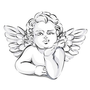 Angel wedding decor, Valentines day cupid, black and white vector illustration