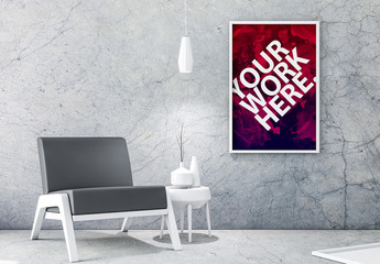 White Framed Poster on Concrete Wall Mockup