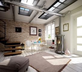 Raum mit Sitzecke und Kamin im Fabrikstil