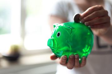 Grünes Sparschwein wird mit Euromünze gefüttert