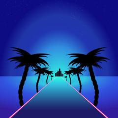Blue themed retro synthwave retro design.