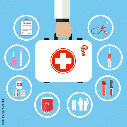 First aid kit in doctor hand  Medical help Healthcare insurance