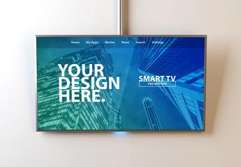 Smart TV Hanging on Wall Mockup