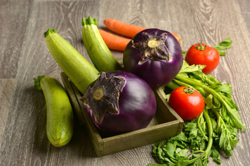 eggplant with other vegetables around