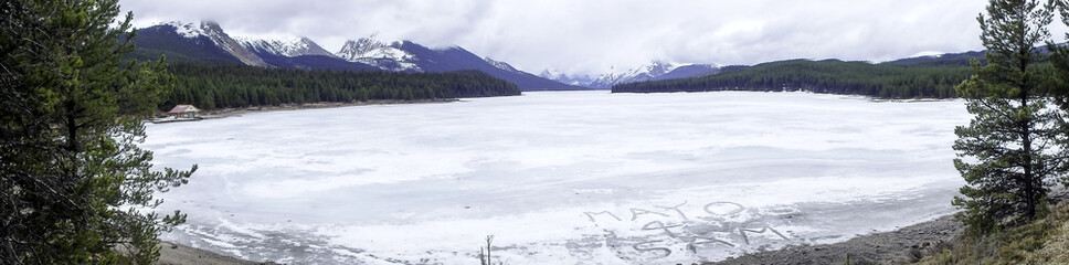 panorama picture from snowy mountains