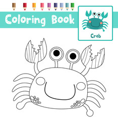 Coloring page of Blue Crab animals for preschool kids activity educational worksheet. Vector Illustration.