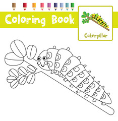 Coloring page of Caterpillar crawling on the branch animals for preschool kids activity educational worksheet. Vector Illustration.