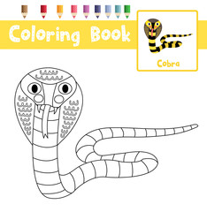 Coloring page of Cobra animals for preschool kids activity educational worksheet. Vector Illustration.