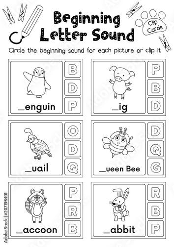 clip cards matching game of beginning letter sound p q r for preschool kids activity. Black Bedroom Furniture Sets. Home Design Ideas