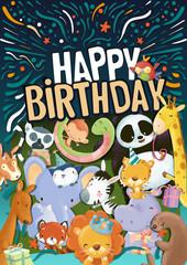 Feliz cumpleaños cartel con animales