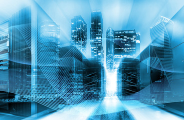 Urban innovation and information technology concept. Double exposure. Abstract blue digital city with power lines and data center Equipment.