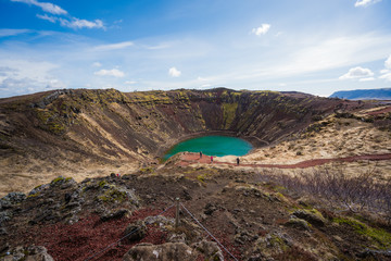 View above Kerid Crater Lake, Iceland
