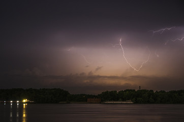 Lightning in night with long exposure, İt's feel excitement.