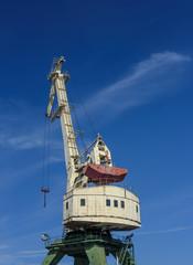 Heavy old crane at the Harbor. Riga, Latvia