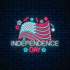 USA independence day glowing neon sign with flowing usa flag and text. National united states holiday