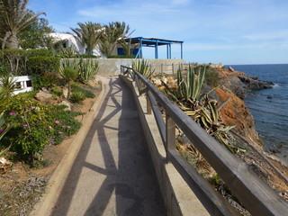 Cala flores en El cabo de Palos junto a la Manga del Mar Menor,poblacion de España en aguas del mar Mediterráneo que se encuentra en el municipio de Cartagena, en la Región de Murcia (España)