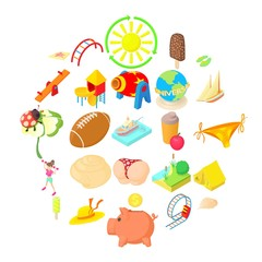Carefree icons set. Cartoon set of 25 carefree vector icons for web isolated on white background