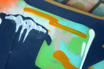 Street art. Abstract background image of a fragment of a colored graffiti painting in khaki green...