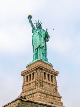 The famous Statue of Liberty monument symbol of New York City, United States.