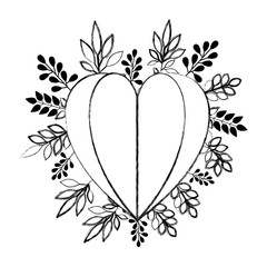 heart love with leafs plant decorative vector illustration design