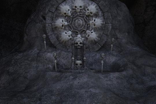 Skull Throne in a dark cave, Background Image, 3d render.