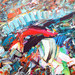 An abstract painting in various colors in abstract patterns in acrylic on canvas.  This is my original painting.