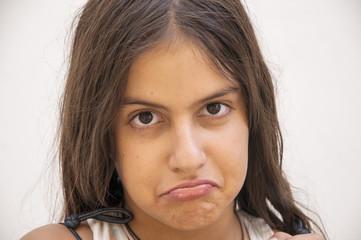 Young worried teenage girl