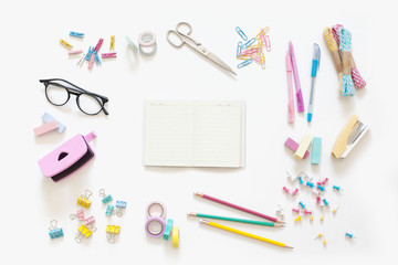 Flat lay stylish set. School stationery. Back to school concept. White background.