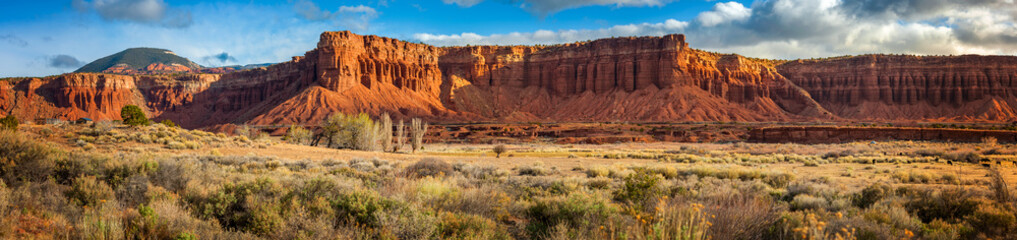 Foto op Plexiglas Natuur Park American Southwest Desert Landscape. Classic eroded Navaho sandstone bluffs and blue skies bring up an image of the old west. This is especially true here in Torrey, Utah, near Capitol Reef Park.