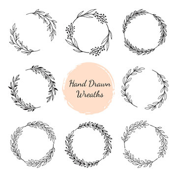 Hand drawn wreaths set. Vector design elements for cards, quotes, invitations and posters
