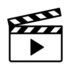 Movie clapperboard or film clapboard with play arrow line art vector icon for video apps and websites