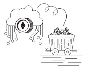 ethereum with cloud and mining truck vector illustration design