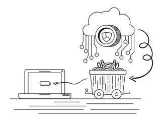 xem with cloud and mining truck vector illustration design