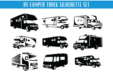 RV Camper and Truck Silhouette Set