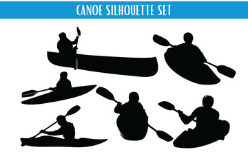 Canoe and Kayaking Silhouette Set