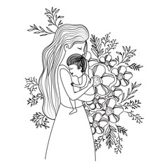 mother lifting son with floral decoration vector illustration design
