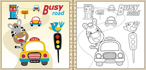 cartoon vector of coloring book or page with funny animals and cars