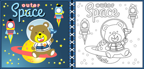 Vector cartoon of going to outer space with funny astronaut, coloring page or book