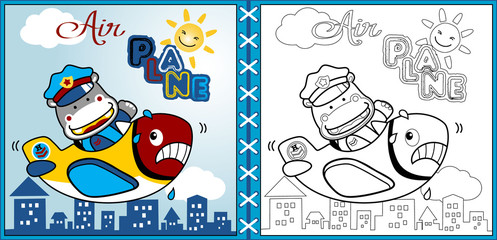 vector of funny airplane with heavy pilot cartoon, coloring page or book. eps 10
