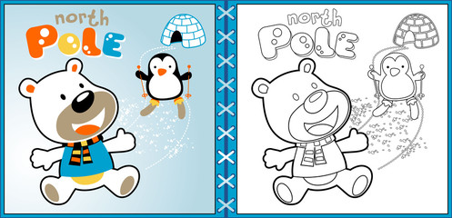 polar bear cartoon with skiing penguin, coloring page or book. eps 10