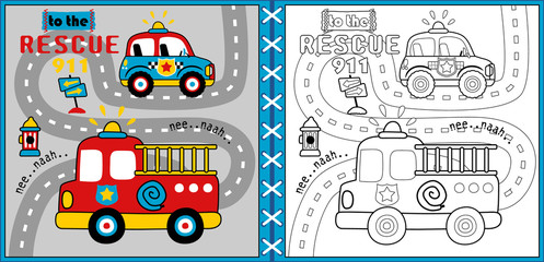 rescue team cartoon vector, coloring page or book