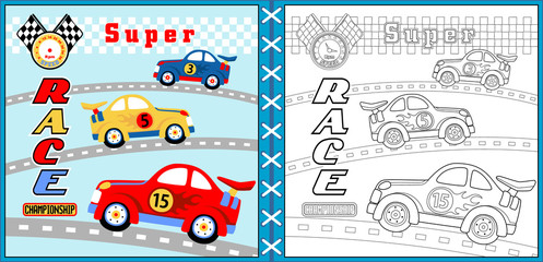 Vector of super car racing cartoon, coloring page or book. eps 10