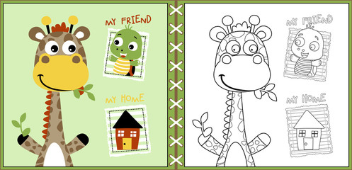 funny animals cartoon with a little home, coloring page or book. eps 10