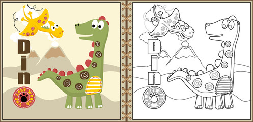 funny dinosaurs cartoon vector, coloring page or book. eps 10