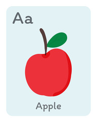 Vegetable and fruit english alphabet. A letter. Apple vector illustration.
