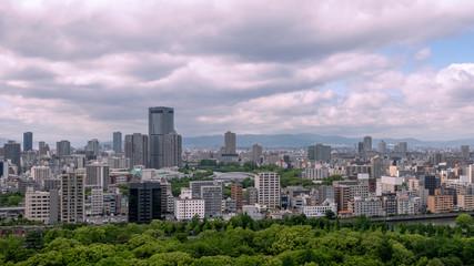 Panorama view of Osaka skyline, Japan