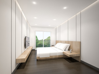Minimalist Master Bedroom , 3d rendering