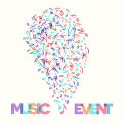 Colorful Music Event notes background. Vector Illustration. Musical poster template.